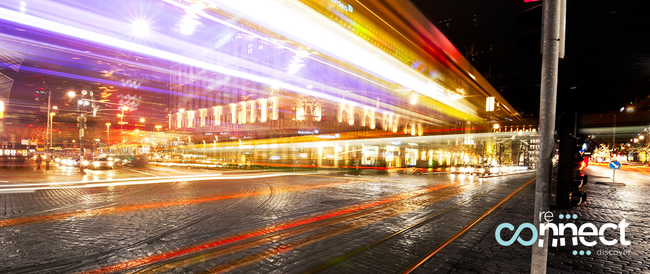 Light trails of cars passing on a busy intersection