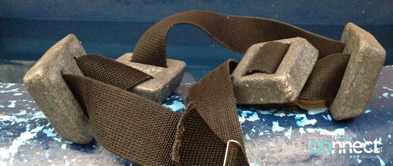 Scuba diving weight belt with lead weight on it