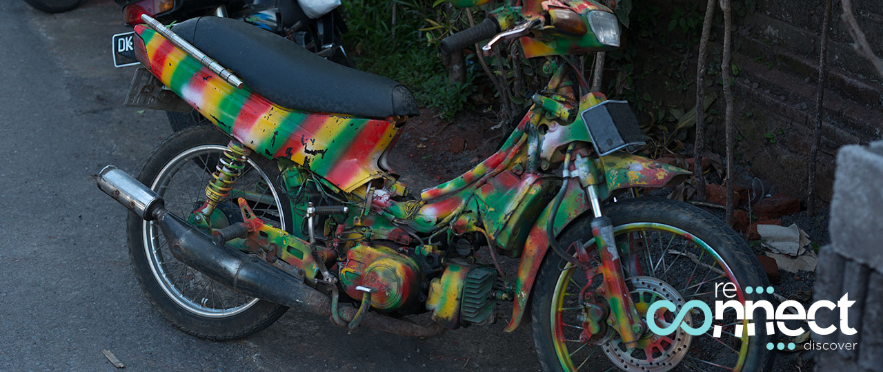 Hippy motor scooter in the streets of Ubud, Bali, Indonesia